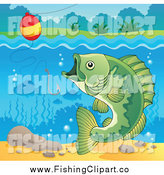 Clip Art of a River Bass Fish, Hook and Bobber by Visekart