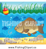 Clip Art of a River Fish Under a Hook and Bobber by Visekart