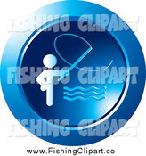 Clip Art of a Round Blue Man Fishing Icon by Lal Perera
