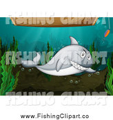 Clip Art of a Shark and Hook Under a Wooden Boat by Graphics RF