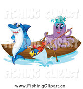 Clip Art of a Shark and Octopus with Fish in a Boat by Graphics RF