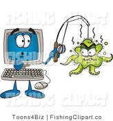 Clip Art of a Shocked Desktop Computer Monitor Mascot Cartoon Character with an Octopus on His Fishing Line by Toons4Biz