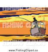 Clip Art of a Silhouetted Fisherman on a Boat Against a Sunset by Patrimonio
