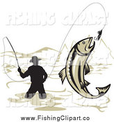 Clip Art of a Silhouetted Wading Fisherman and Leaping Trout by Patrimonio