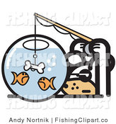 Clip Art of a Silly White Dog Trying to Catch Goldfish in a Bowl with a Dog Bone on a Hook by Andy Nortnik