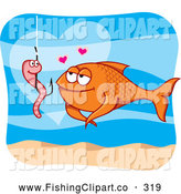 Clip Art of a Smiling Worm on a Hook and Fish in Love by Any Vector