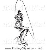 Clip Art of a Sporty Black and White Wading Fisherman Reeling in a Fish by BestVector