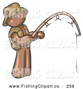 Clip Art of a Sporty Brown Man Wearing a Hat and Vest and Holding a Fishing Pole by Leo Blanchette