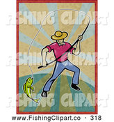 Clip Art of a Sporty Fly Fisherman Pulling in a Catch on Grungy Rays by Patrimonio