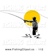 Clip Art of a Sporty Fly Fisherman Silhouetted Against the Sun, Casting His Line by Patrimonio