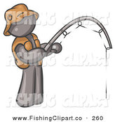 Clip Art of a Sporty Gray Man Wearing a Hat and Vest and Holding a Fishing Pole by Leo Blanchette