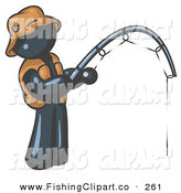 Clip Art of a Sporty Navy Blue Man Wearing a Hat and Vest and Holding a Fishing Pole by Leo Blanchette