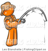 Clip Art of a Sporty Orange Man Wearing a Hat and Vest and Holding a Fishing Pole by Leo Blanchette