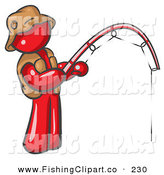 Clip Art of a Sporty Red Man Wearing a Hat and Vest and Holding a Fishing Pole by Leo Blanchette