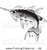 Clip Art of a Sporty Retro Black and White Fish Swimming Towards a Lure by BestVector