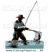 Clip Art of a Sporty Wading Fisherman Scooping up a Fish with a Net by Patrimonio