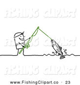 Clip Art of a Stick Figure People Character Reeling in a Fish on a Line by NL Shop