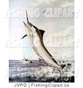 Clip Art of a Striped Marlin Fish Jumping out of the Sea to Bite a Fishing Line by JVPD