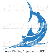 Clip Art of a Swimming Blue Marlin Fish by Vector Tradition SM