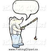 Clip Art of a Talking Polar Bear Holding a Fishing Pole by Lineartestpilot