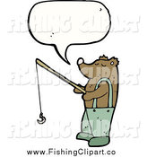 Clip Art of a Thinking Bear Holding a Fishing Pole by Lineartestpilot