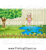 Clip Art of a Tiny Dog Fishing on a Rabbit's Head at a Pond by Graphics RF