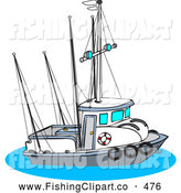 Clip Art of a Trawler Fishing Boat on the Ocean by Djart