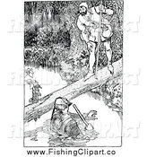 Clip Art of a Vintage Black and White Forest Man Talking to a Man in a Creek by Prawny Vintage