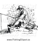 Clip Art of a Vintage Black and White Man Smoking a Pipe and Fishing by Prawny Vintage