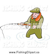 Clip Art of a Wading White Fisherman Holding a Pole by Patrimonio