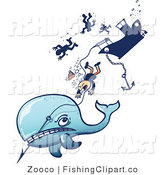 Clip Art of a Whale Pulling Hunters down by Zooco