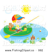 Clip Art of a White Boy and His Puppy Dog Fishing from a Raft by Alex Bannykh