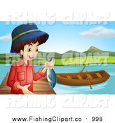 Clip Art of a White Boy Holding a Caught Fish by a Boat on a Dock by Graphics RF