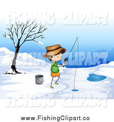 Clip Art of a White Boy Ice Fishing by Graphics RF