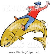 Clip Art of a White Man Riding a Large Fish and Holding on with Wire by Patrimonio