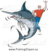 Clip Art of a White Rodeo Man Riding a Marlin by Patrimonio