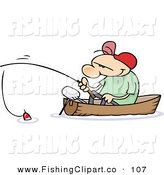 Clip Art of a White Toon Guy Fishing in a Boat by Gnurf