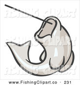 Clip Art of a White Trout Fish Jumping up and Biting a Hook on a Fishing Line by Leo Blanchette