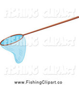 Clip Art of a Wood Handled Fishing Net by Graphics RF