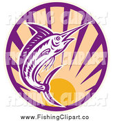 Clip Art of a Woodcut Retro Marlin Jumping over a Sunset Circle by Patrimonio