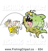 Clip Art of an Aggressive Green Monster Fish Being Reeled in by a Scared Fisherman by Johnny Sajem