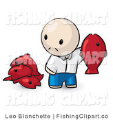 Clip Art of an Asian Man with Fish by Leo Blanchette