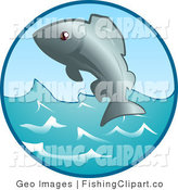 Clip Art of an Ocean Fish Jumping out of the Waves by AtStockIllustration