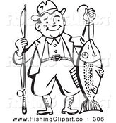 Clip Art of an Old Fashioned Black and White Man Proudly Holding His Catch by BestVector