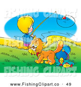 Clip Art of an Orange Cat Stealing Fish from a Bucket While a Boy Fishes in the Background by Alex Bannykh