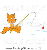 Clip Art of an Orange Fox Fishing on a Lake by Alex Bannykh
