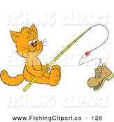 Clip Art of an Orange Kitty Cat Reeling in a Boot on a Fishing Pole by Alex Bannykh