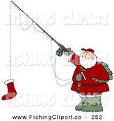 Clip Art of an Outdoorsy Santa Holding a Red Christmas Stocking on a Fishing Pole Hook by Djart