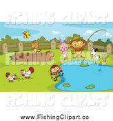 Clip Art of Animals Playing Around a Pond by Graphics RF