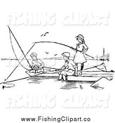 Clip Art of Black and White Children Fishing by Prawny Vintage